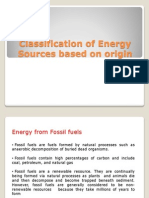 Classification of Energy Sources Based on Origin