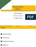 Minimizing DFAs