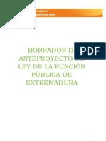 Borrador de Anteproyecto de Ley de La Función Pública de Extremadura