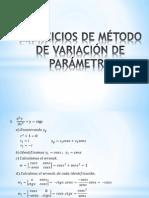 Ejercicios de Método de Variación de Parámetro