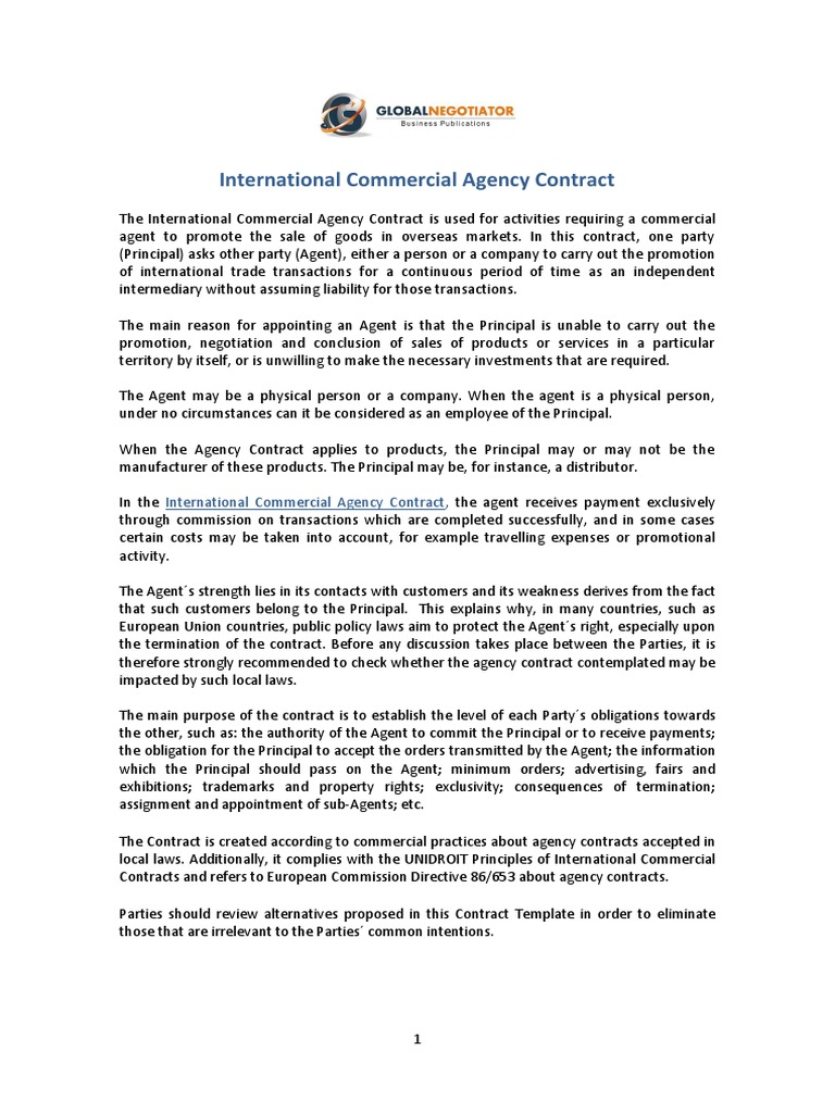 Sales Agent Contracts | International Commercial Agency Contract Law Of Agency Common Law