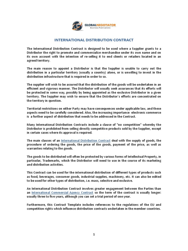 International distribution contract distribution business international distribution contract distribution business trademark altavistaventures Image collections