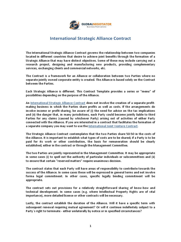 International Strategic Alliance Contract | Government Information ...