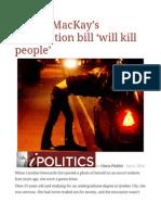 Escort MacKay's Prostitution Bill 'Will Kill People'