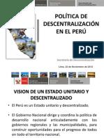 La Politica de Descentralizacion en El Perú - PCM