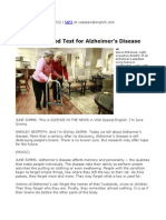 32. a Possible Blood Test for Alzheimer's Disease
