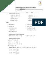 Taller N°2 plan diferenciado cuarto medio polinomios