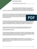 Electricity Market Reform the Capacity Market Explained