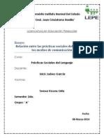 primer ensayo-relacin entre las practicas sociales del lenguaje y los medios de comunicacin