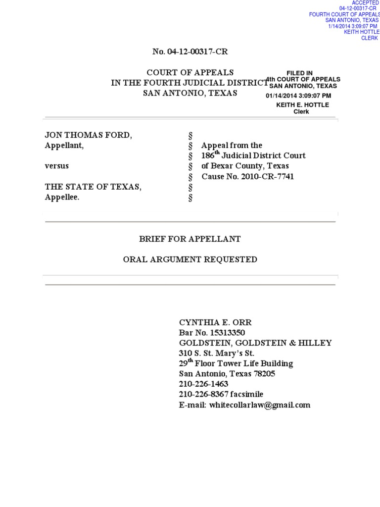 Brief for Appellant, Ford v  Texas (January 14, 2014) | Search And