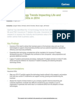 Gartner Top 10 Technology Trends Impacting Life and PC Insurance CIOs in 2014