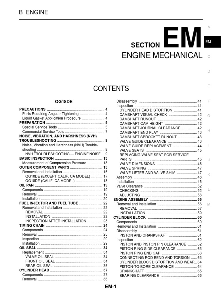 Nissan Sentra Service Manual Section Engine Mechanical | Piston | Throttle