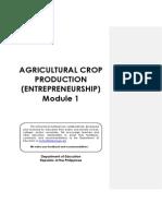 Agricultural Crop Production Module 1 - Entrepreneurship