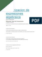 Factorizacion de Expresiones Algebraica