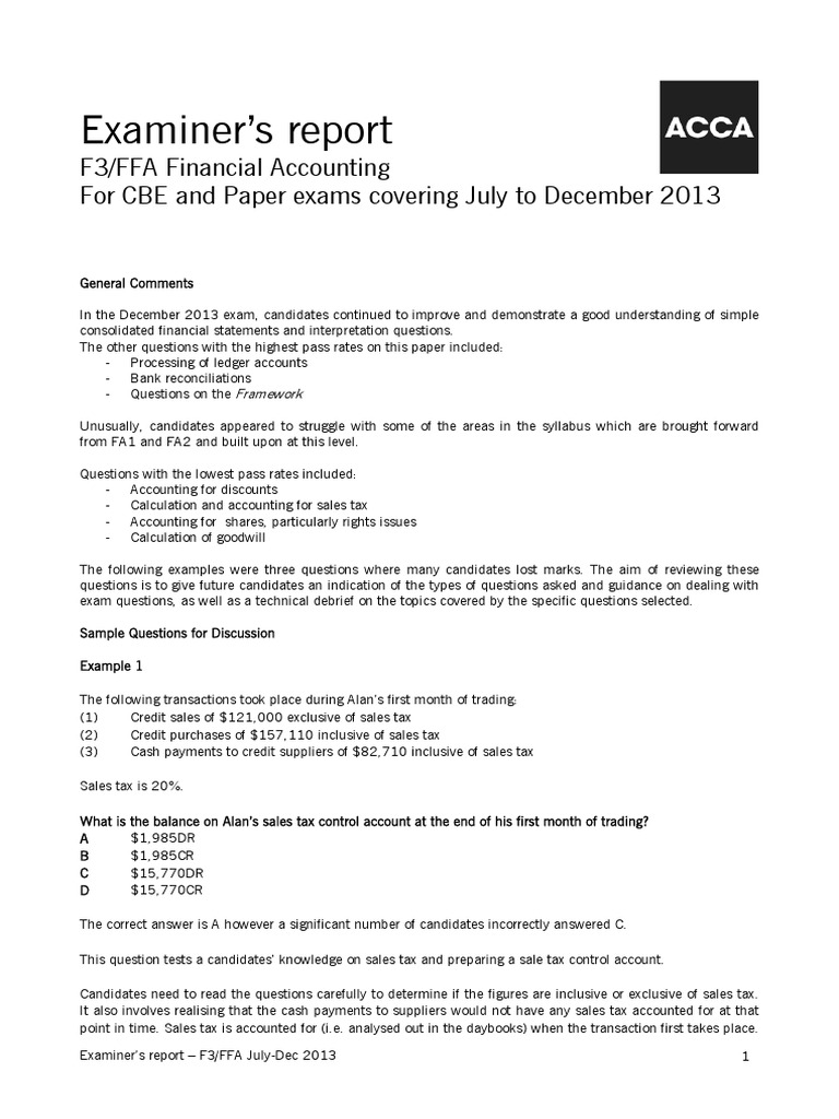ACCA F3 Jan 2014 Examiner Report | Goodwill (Accounting) | Debits