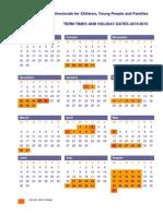 School Term Dates 2014-2015