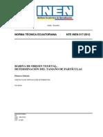 NTE INEN 517-2012tamaño de Partifula Hrina