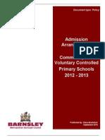 Admissions Arrangements 2012 2013