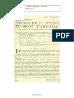 Gheorghe FocÈ™a, Contributie la cercetarea mentalitatii satului, 1932