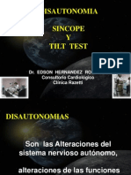 DIsautonomia, Tilt Test Clin Razetti 2011