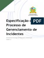 Especificação Do Processo de Gerenciamento de Incidentes - V1.1