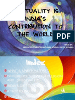 Spirituality is India's Contribution to the World