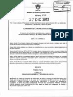 Decreto 3036 Del 27 de Diciembre de 2013