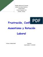 Frustración, Conflicto. Ausentismo y Rotacion Laboral