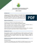 Edital de Seleção Mestrado Em Música Do PPGMUS UFRN.2014
