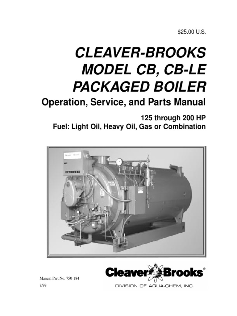 750 184 cb cble 125 200 hp rev 1998 boiler water heating
