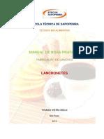 MANUAL DE BOAS PRATICAS - FABRICAÇÃO DE LANCHES, LANCHONETES