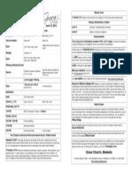 Bulletin for June 15th, 2014