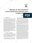 HISTORY OF THE CODE RULES FOR ACCREDITATION, CERTIFICATION, AND RELATED ISSUES