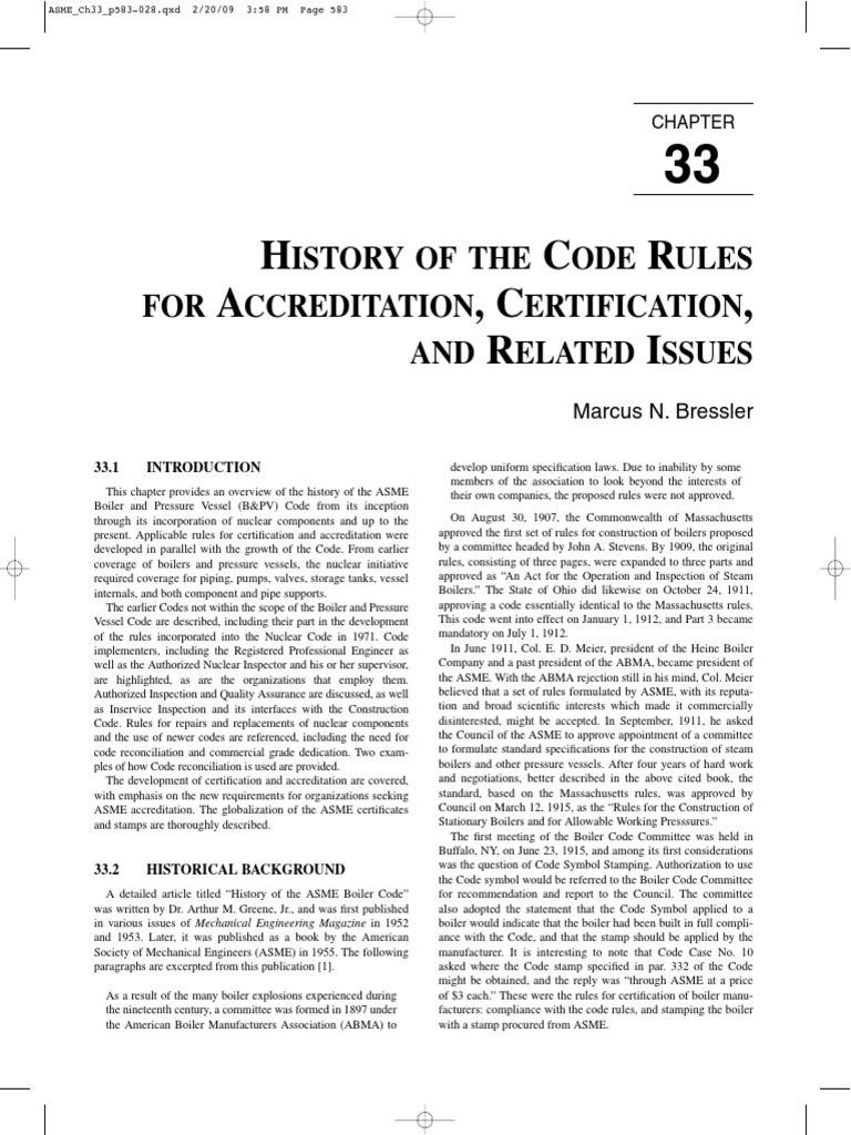HISTORY OF THE CODE RULES FOR ACCREDITATION, CERTIFICATION, AND ...