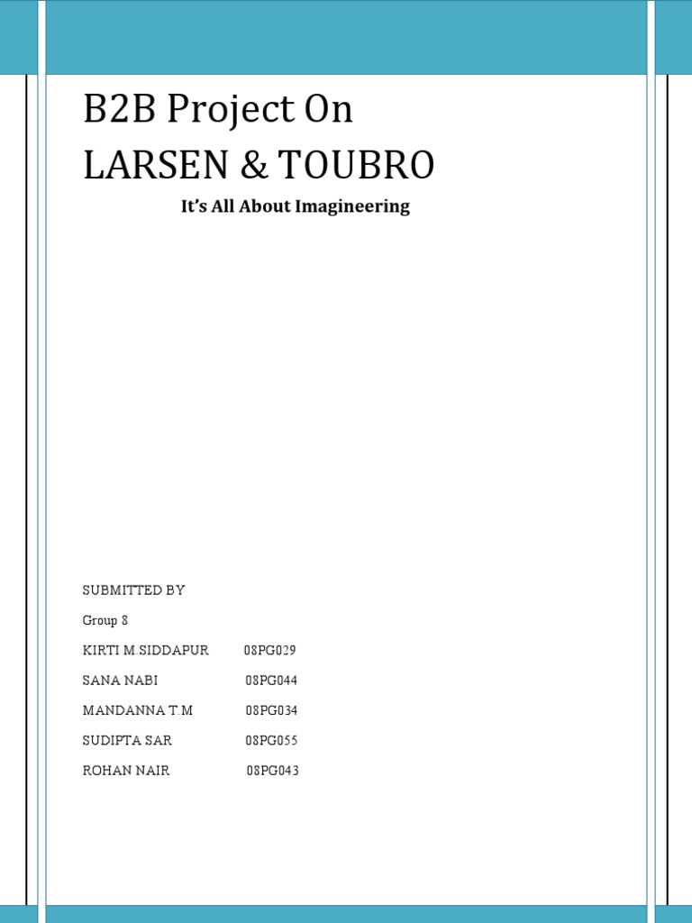 bb project on larsen toubro engineering prices