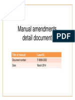 Manual Amendments Detail Document - LaserXL System