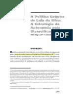 A Política Externa de Lula Da Silva a Estratégia Da Autonomia Pela Diversificação