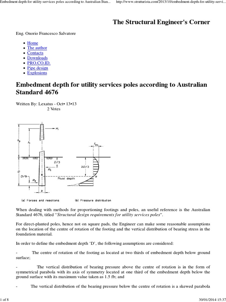 EEmbedment depth for utility services poles according to