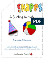 Dimensional Shapes a Sorting Activity Freebie