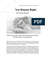 George Weigel - The First Human Right. 2014, National Review Online.