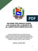 Informe Preliminar Sobre La Muerte de El Libertador Simon Bolivar.