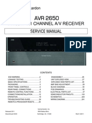 Harman-Kardon AVR2650 service manual pdf | Hdmi | Video