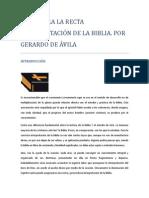 Leyes Para La Recta Interpretacion Biblica - Gerardo de Avila