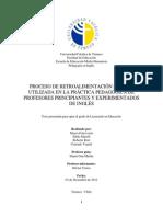 Proceso de Retroalimentación Escrita Utilizada en La Práctica Pedagógica de Profesores Principiantes y Experimentados de Inglés