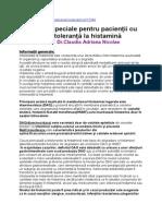 Indicaţii Speciale Pentru Pacienţii Cu Intoleranţă La Histamină
