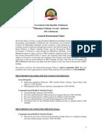MCA I General Procurement Notice vApril to Sept 2014