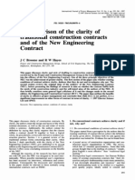 A Comparison of the Clarity of Traditional Construction Contracts and of the New Engineering Contract