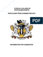 014 Duke Elder Examination Information for Candidates 2013