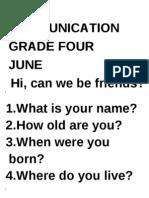 Oral Communication grade 4