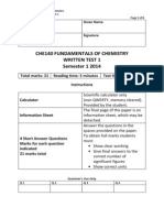 CHE140 Written Test 1 S1 2014